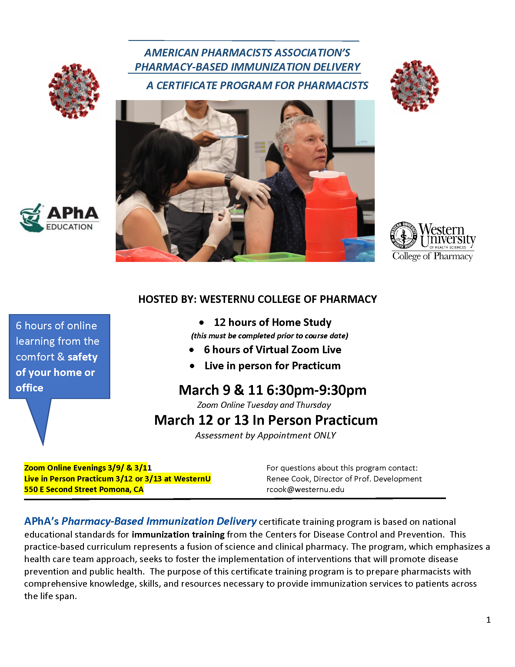 APhA's Pharmacy-Based Immunization Delivery certificate training program flyer