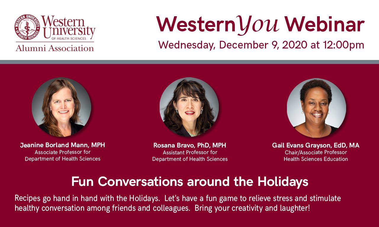WesternYOU Webinar Fun Conversations around the Holidays flyer